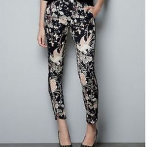 Zara TRF oriental print skinny pants